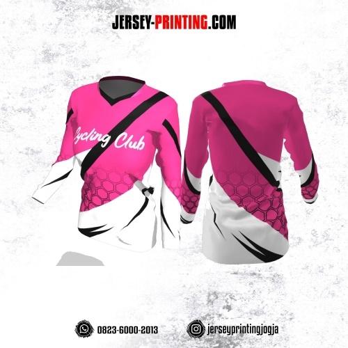 Jersey Cewek Gowes Sepeda Pink Putih Hitam Motif Honeycomb Lengan Panjang