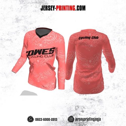 Jersey Cewek Gowes Sepeda Pink Salem Motif Batik Lengan Panjang