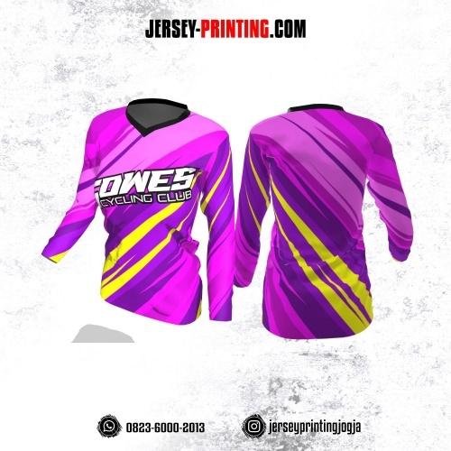 Jersey Cewek Gowes Sepeda Pink Ungu Kuning Lengan Panjang