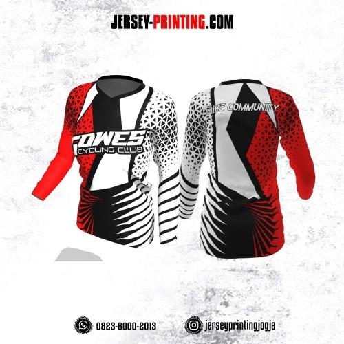 Jersey Cewek Gowes Sepeda Putih Hitam Merah Motif Trigonal Lengan Panjang