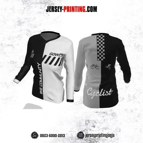 Jersey Cewek Gowes Sepeda Putih Hitam Motif Geometris Lengan Panjang