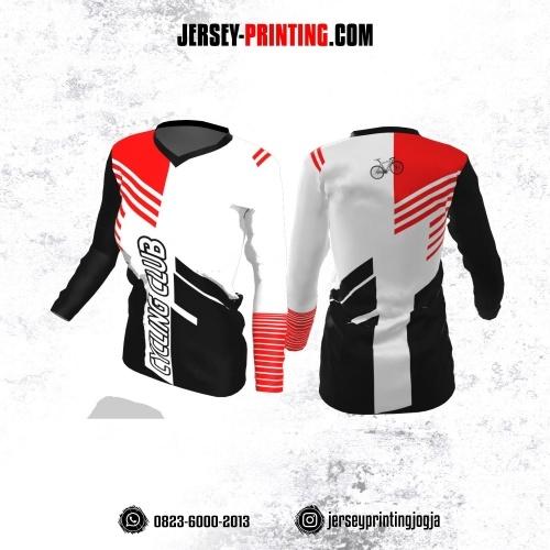 Jersey Cewek Gowes Sepeda Putih Hitam Motif Strip Merah Lengan Panjang
