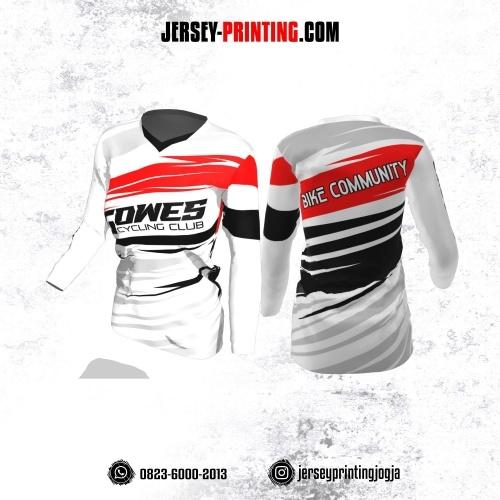 Jersey Cewek Gowes Sepeda Putih Motif Kilat Hitam Merah Lengan Panjang