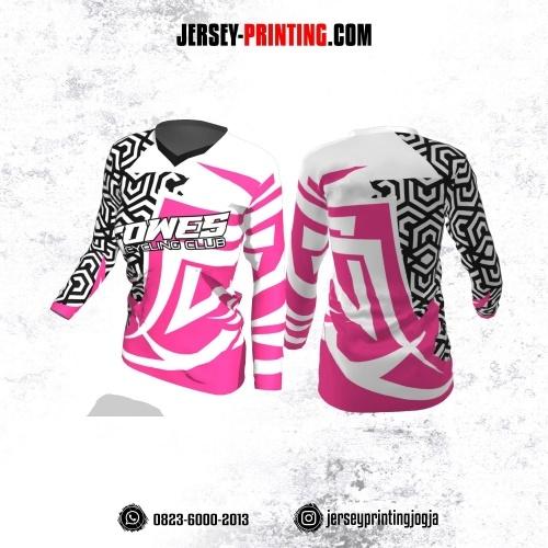 Jersey Cewek Gowes Sepeda Putih Pink Motif Seamless Hitam Lengan Panjang