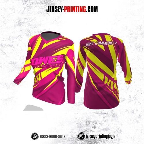 Jersey Cewek Gowes Sepeda Pink Corak Kuning Lengan Panjang