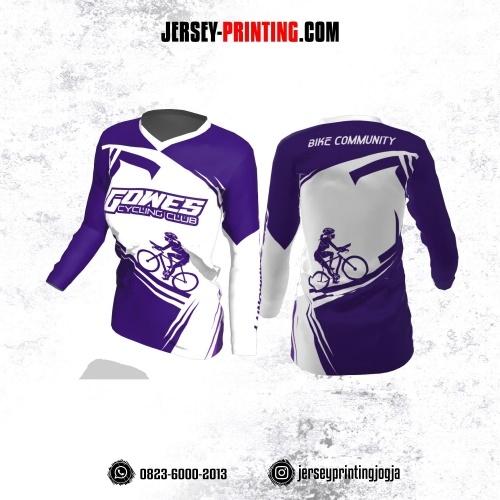 Jersey Cewek Gowes Sepeda Ungu Corak Putih Lengan Panjang