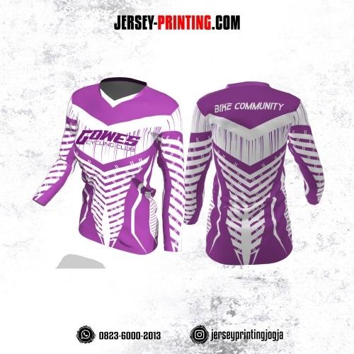 Jersey Cewek Gowes Sepeda Ungu Lilac Putih Motif Garis Lengan Panjang
