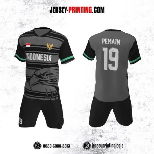 Jersey Futsal Abu-abu Hitam Hijau Motif Stripe