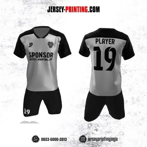 Jersey Futsal Abu-abu Silver Corak Hitam