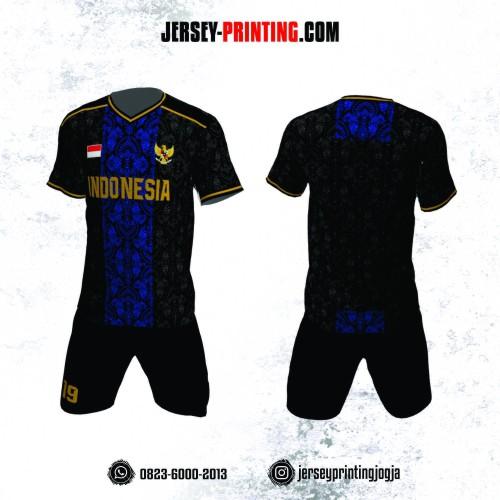 Jersey Futsal Batik Biru Hitam Emas