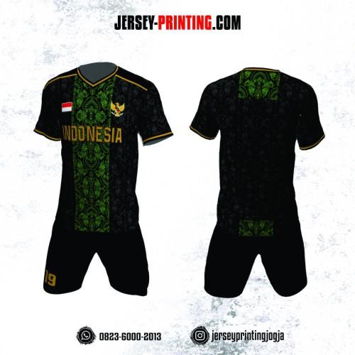 Jersey Futsal Batik Hitam Hijau Emas