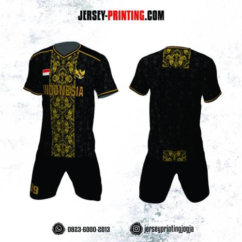 Jersey Futsal Batik Hitam Kuning Emas