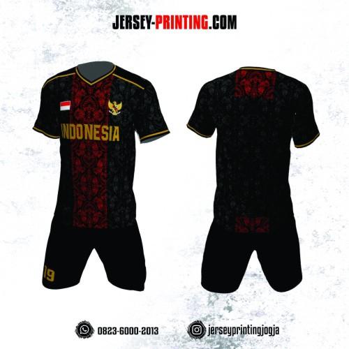 Jersey Futsal Batik Merah Hitam Emas