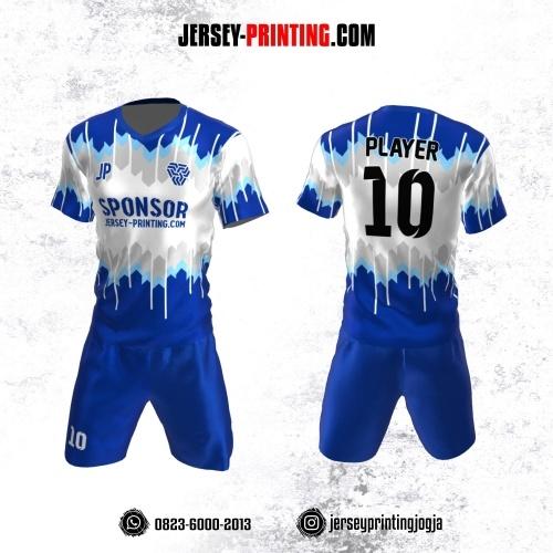Jersey Futsal Biru Abu-abu Putih Motif Gradasi