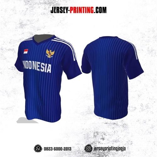 Jersey Futsal Biru Dongker Putih Motif Garis
