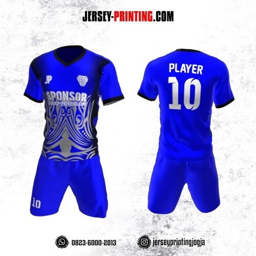 Jersey Futsal Biru Hitam Abu-abu Motif Batik