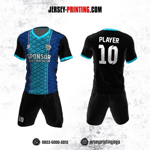 Jersey Futsal Biru Hitam Motif Seamless