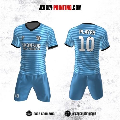 Jersey Futsal Biru Hitam Motif Stripe