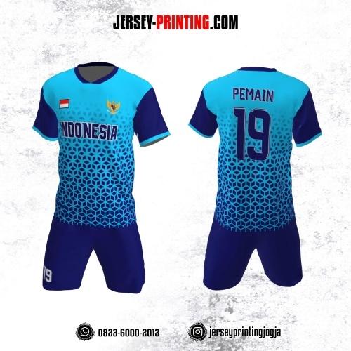 Jersey Futsal Biru Motif Seamless Navy