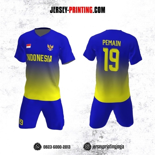 Jersey Futsal Biru Navy Corak Kuning
