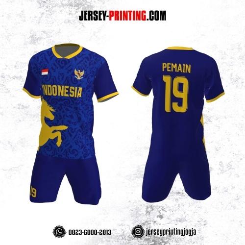 Jersey Futsal Biru Navy Kuning Motif Batik dan Pola Kuda