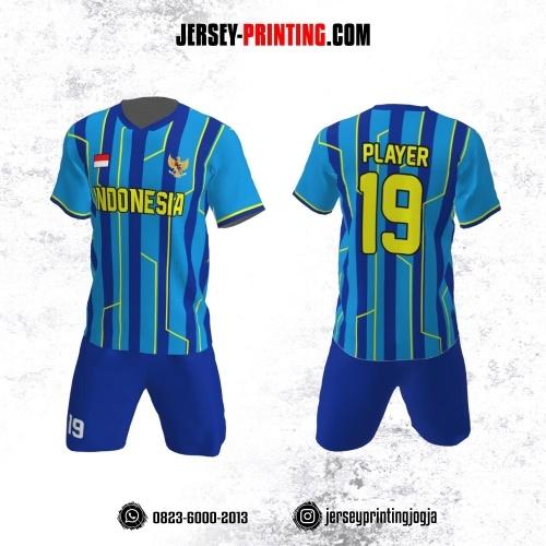Jersey Futsal Biru Navy Kuning Motif Stripe