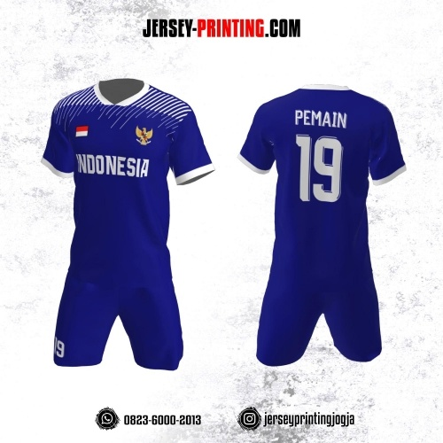 Jersey Futsal Biru Navy Motif Strip Putih