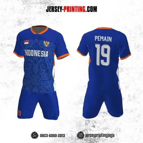 Jersey Futsal Biru Navy Orange Motif Batik