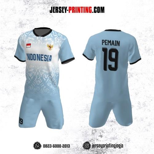 Jersey Futsal Biru Putih Motif Batik