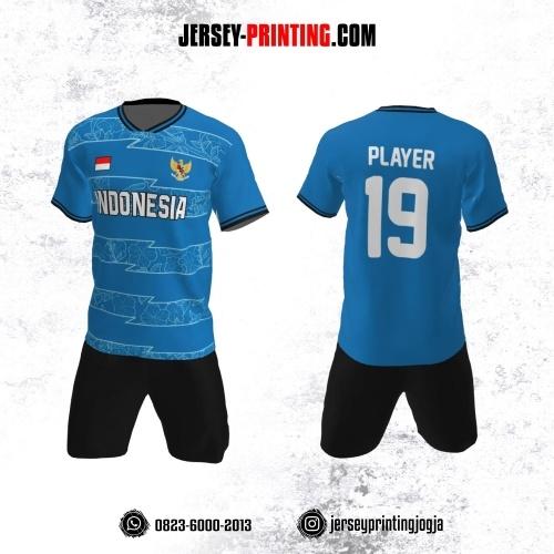 Jersey Futsal Biru Putih Motif Bunga