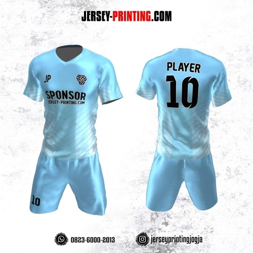 Jersey Futsal Biru Putih Motif Garis