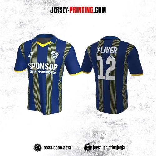 Jersey Futsal Biru Tua Motif Stripe Kuning