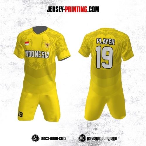 Jersey Futsal Corak Singa Kuning Abu-abu