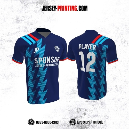 Jersey Futsal Dongker Biru Merah Motif Kilat