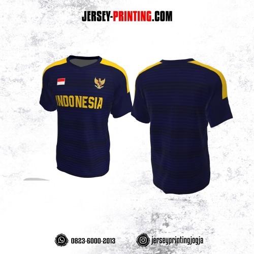 Jersey Futsal Dongker Kuning Motif Garis