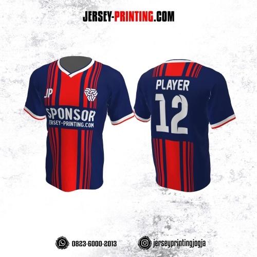 Jersey Futsal Dongker Motif Garis Merah