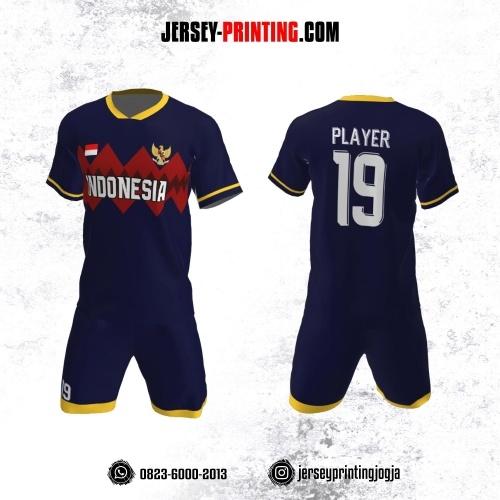 Jersey Futsal Dongker Motif Zigzag Merah