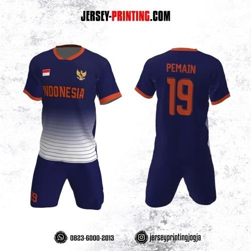 Jersey Futsal Dongker Putih Orange Motif Garis
