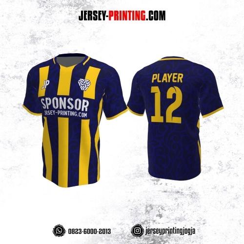 Jersey Futsal Dongker Stripe Kuning