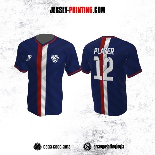 Jersey Futsal Dongker Stripe Merah Putih