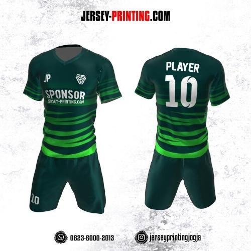 Jersey Futsal Hijau Kombinasi Motif Loreng