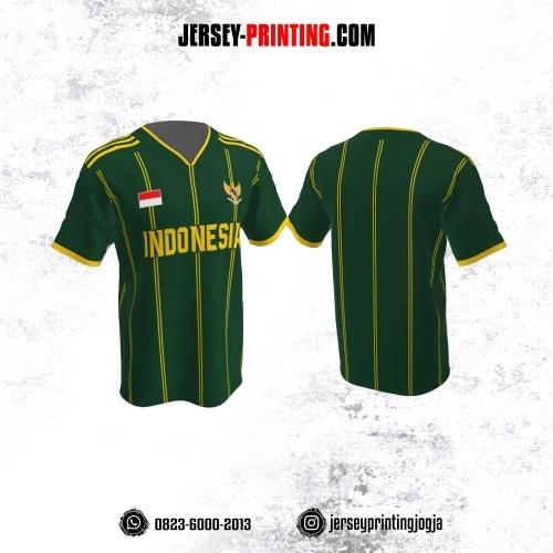Jersey Futsal Hijau Motif Stripe Kuning
