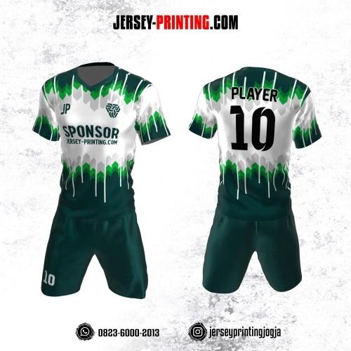 Jersey Futsal Hijau Putih Abu-abu Motif Gradasi