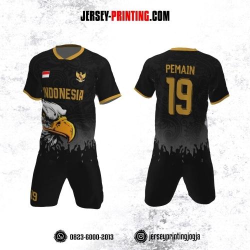 Jersey Futsal Hitam abu-abu Kuning Motif Batik dan Burung Elang