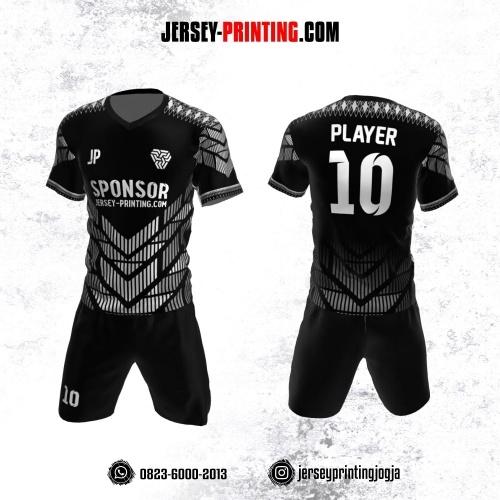 Jersey Futsal Hitam Abu-abu Motif Strip