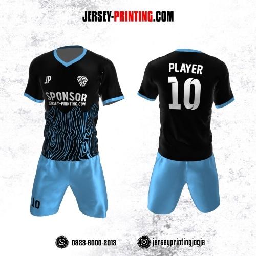 Jersey Futsal Hitam Biru Motif Abstrak