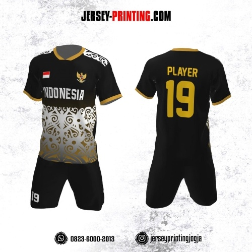 Jersey Futsal Hitam Corak Batik Gold