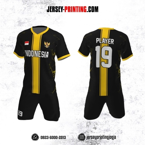 Jersey Futsal Hitam Corak Kuning Strip