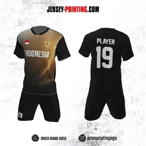 Jersey Futsal Hitam Corak Line Neon Light Gold