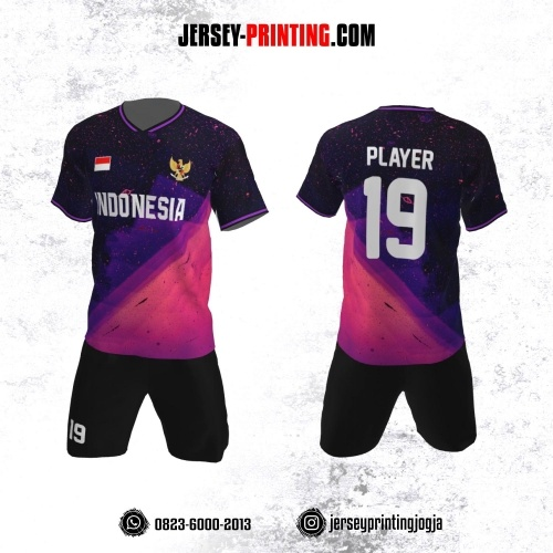 Jersey Futsal Hitam Corak Ungu Pink